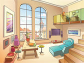 The light interior of a two-storied cozy living room is full of paintings and other art objects in the bright sunny day