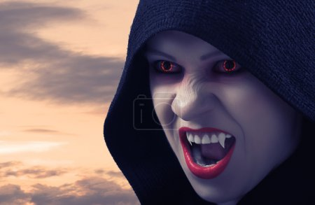 Angry female vampire at sunset and moon...
