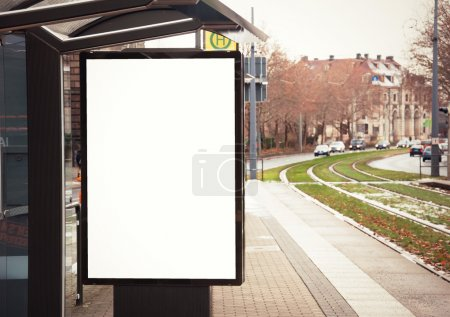 Photo for Billboard, banner, empty, white at a bus stop - Royalty Free Image
