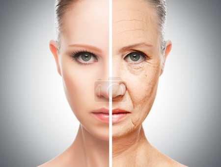 Photo for Concept of aging and skin care. face of young woman and an old woman with wrinkles - Royalty Free Image