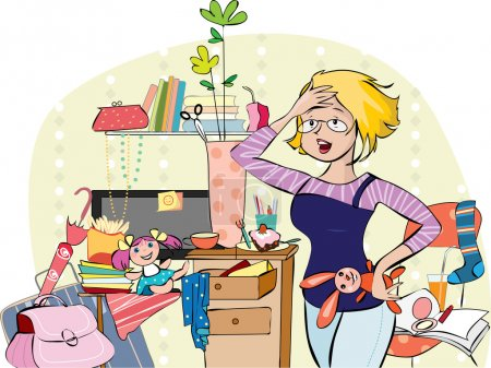 Illustration for Vector illustration of a young overhelmed mom trying to get together things in living room - Royalty Free Image
