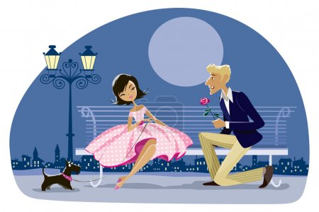 Illustration for Cartoon of a romantic couple date, night city in the background - Royalty Free Image