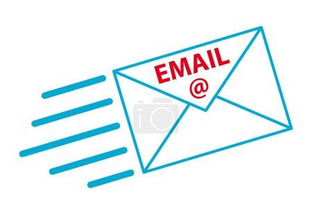Illustration pour Enveloppe bleue volante avec l'inscription email - image libre de droit