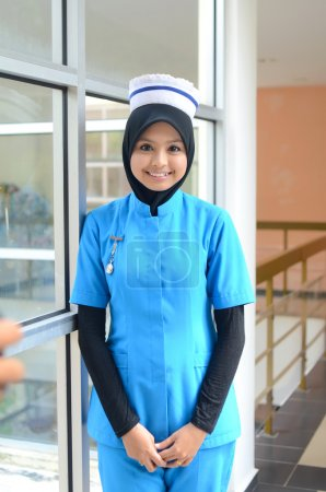 Photo for Confident Young asian muslim nurse at hospital - Royalty Free Image