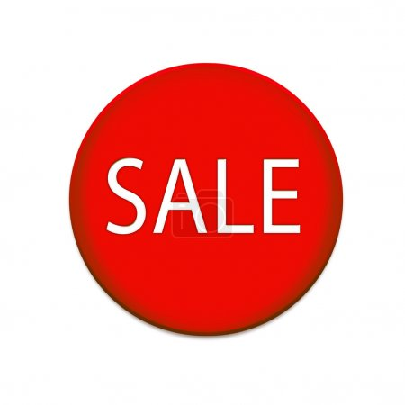 Sale icon on red button graphic