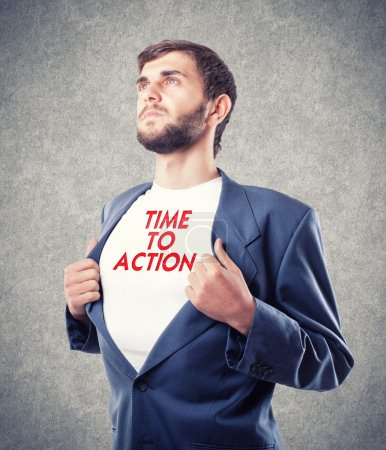 Photo pour Le jeune homme d'affaires qui motive à l'action - image libre de droit