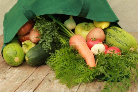 Photo for Mixed vegetables in the bag - shopping concept - Royalty Free Image