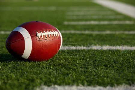 Photo for American Football on the Field near the hashmarks or yard lines - Royalty Free Image
