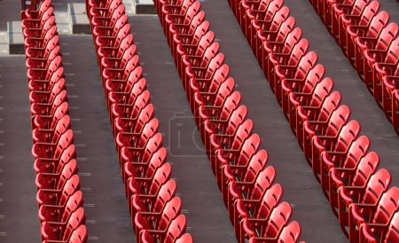 Photo for Rows of Red Sports Stadium seats - Royalty Free Image