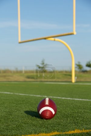 American Football with Uprights Beyond