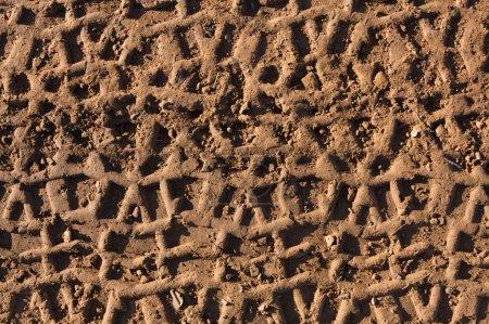 Foto de Huellas de neumáticos de ATV en el barro para el fondo de transporte - Imagen libre de derechos