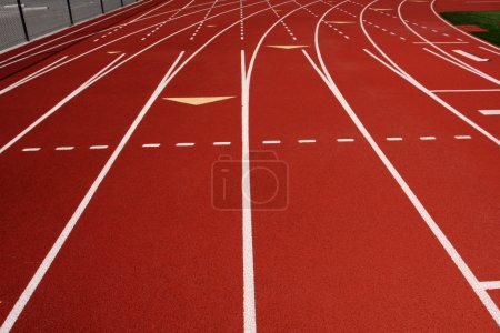 Red Running Track Lanes