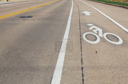 Photo for Bike lane  along a urban road closeup - Royalty Free Image