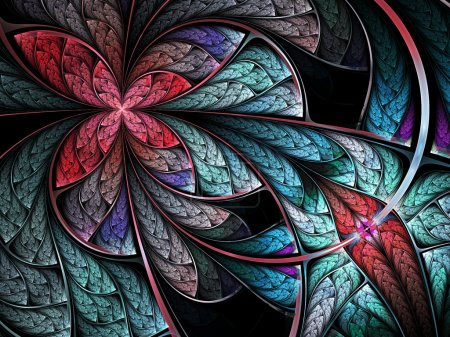 Photo for Colorful fractal flower or butterfly, digital art design - Royalty Free Image