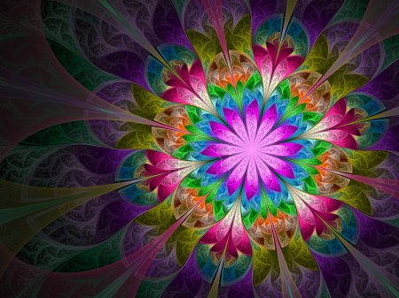 Colorful and psychedelic flower, digital fractal art design