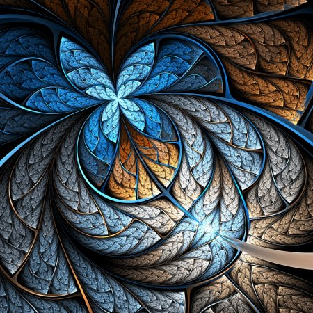 Blue and gold fractal flower or butterfly, digital artwork for creative graphic design