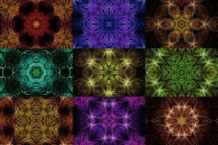 Set of colorful fractal mandala shapes, digital artwork for creative graphic design