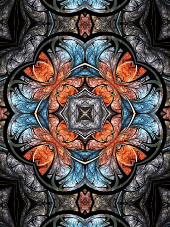 Photo for Colorful fractal kaleidoscope, digital artwork for creative graphic design - Royalty Free Image
