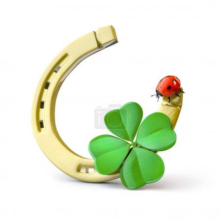 Photo pour Symboles chanceux : fer à cheval, 4 feuilles de trèfle et coccinelle - image libre de droit