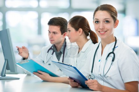 Photo for Group of medical students studying in classroom - Royalty Free Image