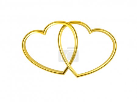 Heart shaped golden rings