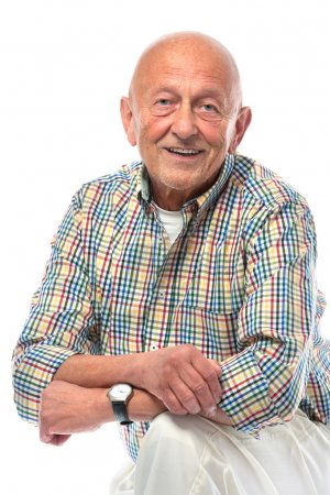 Photo for Portrait of a happy senior man smiling isolated on white - Royalty Free Image