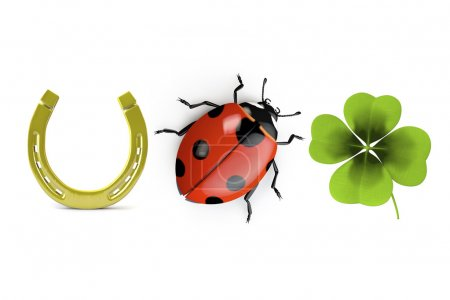 Photo for 3d collection of good luck symbols isolated on white - Royalty Free Image