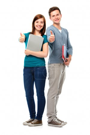 Students showing thumbs-up