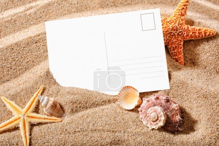 Photo for Holiday beach concept with shells, sea stars and an blank postcard - Royalty Free Image