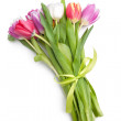 Posy of spring tulips flowers isolated on white ba...