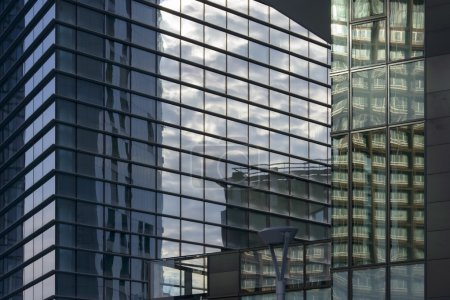 reflections on glass at business hub, Milan