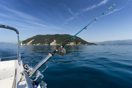 fishing rod on boat with island in background