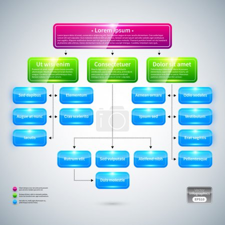 Organization chart with colorful glossy elements