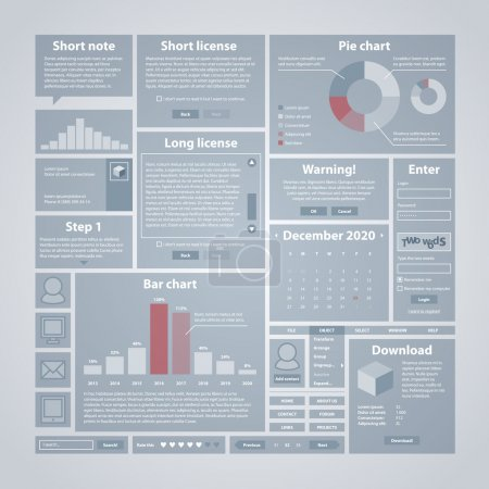 Interface elements. Useful for software, web and infographic design