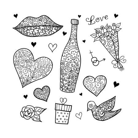Doodle textured love (valentine) elements.