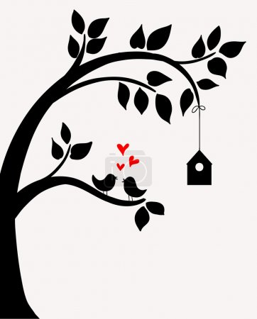 Illustration for Doodle tree with birds in love and nesting box. - Royalty Free Image