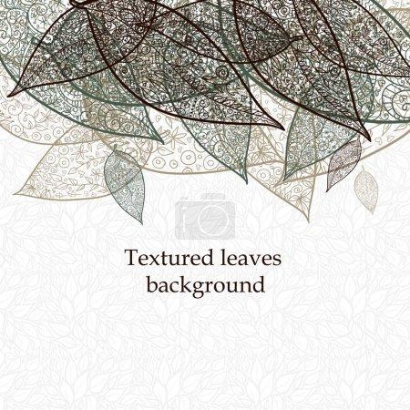 Illustration pour Doodle texturé feuilles fond - image libre de droit
