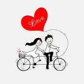 Doodle lovers: a boy and a girl riding tandem bicycle