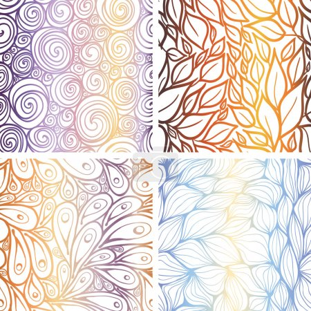 Illustration for Set of abstract seamless patterns: swirls, leaves, peacocks, waves. - Royalty Free Image