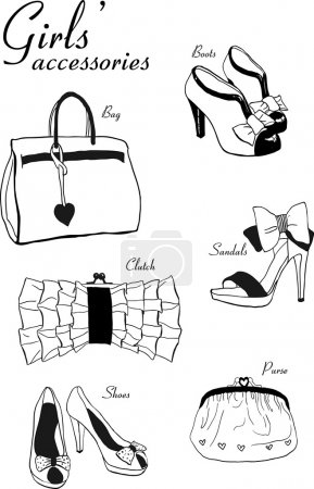 Doodle hand drawn girls' shoes and handbags set