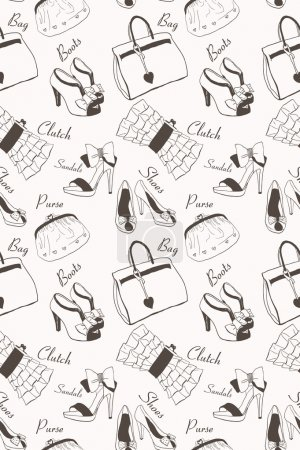 Illustration for Doodle hand drawn girls' shoes and handbags seamless pattern. - Royalty Free Image