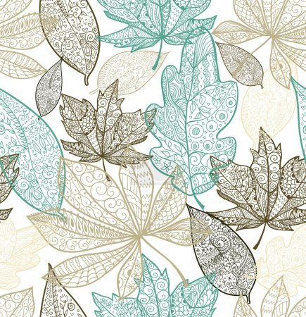 Illustration for Doodle textured leaves seamless pattern. - Royalty Free Image