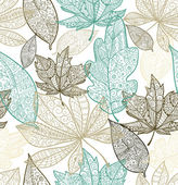 Doodle textured leaves seamless pattern.