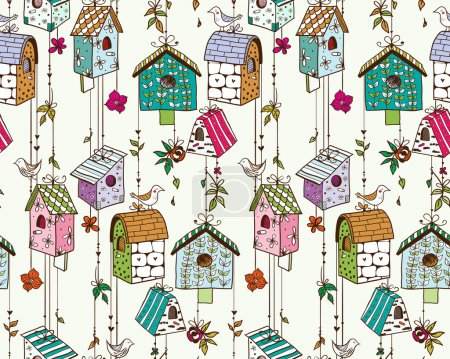 Doodle nesting boxes with birds seamless pattern.
