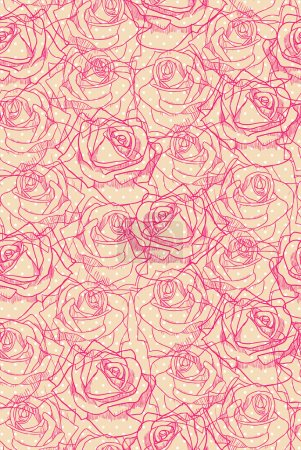 Pink-red roses on light beige and white polka dot background.