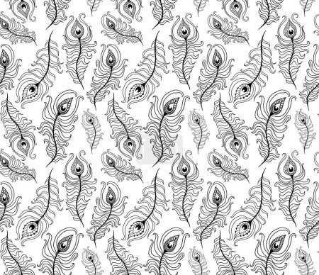 Illustration for Doodle peacock feathers seamless pattern - Royalty Free Image