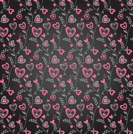 Doodle pink and grey on black hearts brunches background