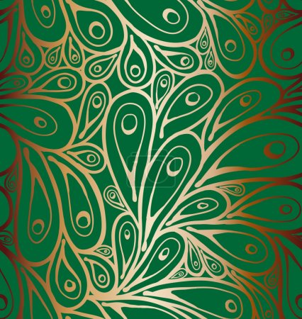Illustration for Seamless doodle peacock feathers pattern - Royalty Free Image