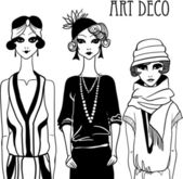 Three doodle women in art deco style