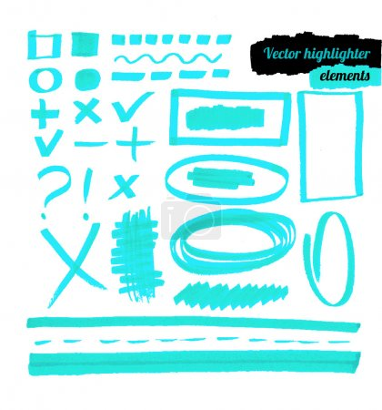 Vector blue highlighter elements.